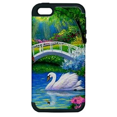 Swan Bird Spring Flowers Trees Lake Pond Landscape Original Aceo Painting Art Apple Iphone 5 Hardshell Case (pc+silicone)
