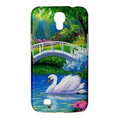 Swan Bird Spring Flowers Trees Lake Pond Landscape Original Aceo Painting Art Samsung Galaxy Mega 6 3  I9200 Hardshell Case