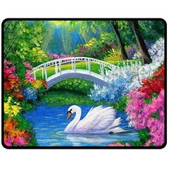 Swan Bird Spring Flowers Trees Lake Pond Landscape Original Aceo Painting Art Double Sided Fleece Blanket (medium)