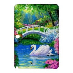 Swan Bird Spring Flowers Trees Lake Pond Landscape Original Aceo Painting Art Samsung Galaxy Tab Pro 10 1 Hardshell Case
