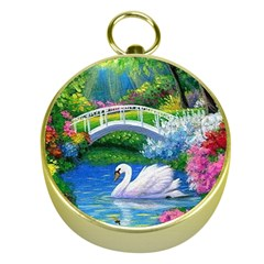 Swan Bird Spring Flowers Trees Lake Pond Landscape Original Aceo Painting Art Gold Compasses