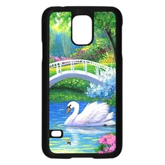 Swan Bird Spring Flowers Trees Lake Pond Landscape Original Aceo Painting Art Samsung Galaxy S5 Case (black)