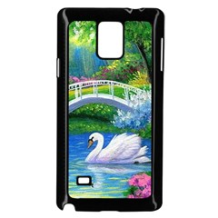 Swan Bird Spring Flowers Trees Lake Pond Landscape Original Aceo Painting Art Samsung Galaxy Note 4 Case (black)