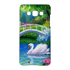 Swan Bird Spring Flowers Trees Lake Pond Landscape Original Aceo Painting Art Samsung Galaxy A5 Hardshell Case