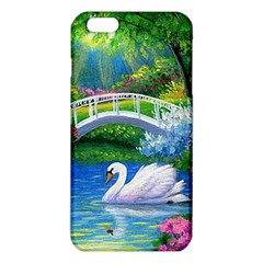 Swan Bird Spring Flowers Trees Lake Pond Landscape Original Aceo Painting Art Iphone 6 Plus/6s Plus Tpu Case