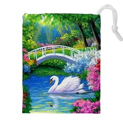 Swan Bird Spring Flowers Trees Lake Pond Landscape Original Aceo Painting Art Drawstring Pouches (xxl)