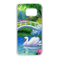 Swan Bird Spring Flowers Trees Lake Pond Landscape Original Aceo Painting Art Samsung Galaxy S7 White Seamless Case