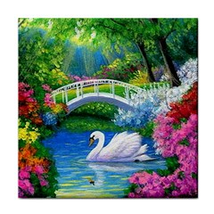 Swan Bird Spring Flowers Trees Lake Pond Landscape Original Aceo Painting Art Tile Coasters