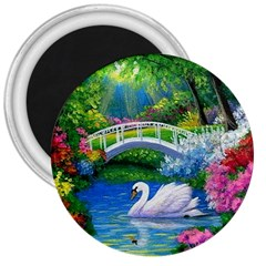 Swan Bird Spring Flowers Trees Lake Pond Landscape Original Aceo Painting Art 3  Magnets