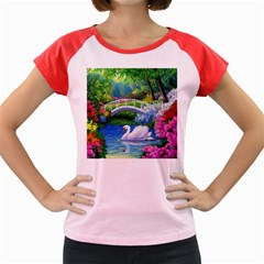 Swan Bird Spring Flowers Trees Lake Pond Landscape Original Aceo Painting Art Women s Cap Sleeve T Shirt