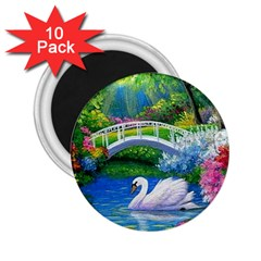 Swan Bird Spring Flowers Trees Lake Pond Landscape Original Aceo Painting Art 2 25  Magnets (10 Pack)