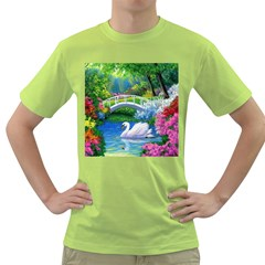 Swan Bird Spring Flowers Trees Lake Pond Landscape Original Aceo Painting Art Green T Shirt