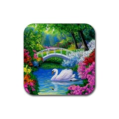 Swan Bird Spring Flowers Trees Lake Pond Landscape Original Aceo Painting Art Rubber Coaster (square)
