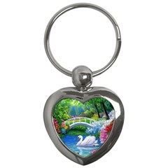 Swan Bird Spring Flowers Trees Lake Pond Landscape Original Aceo Painting Art Key Chains (heart)