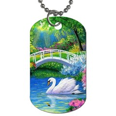 Swan Bird Spring Flowers Trees Lake Pond Landscape Original Aceo Painting Art Dog Tag (two Sides)