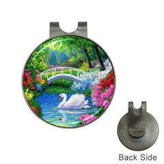 Swan Bird Spring Flowers Trees Lake Pond Landscape Original Aceo Painting Art Hat Clips With Golf Markers
