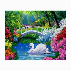 Swan Bird Spring Flowers Trees Lake Pond Landscape Original Aceo Painting Art Small Glasses Cloth