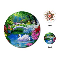 Swan Bird Spring Flowers Trees Lake Pond Landscape Original Aceo Painting Art Playing Cards (round)