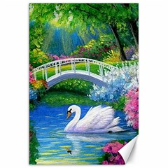Swan Bird Spring Flowers Trees Lake Pond Landscape Original Aceo Painting Art Canvas 20  X 30