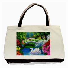 Swan Bird Spring Flowers Trees Lake Pond Landscape Original Aceo Painting Art Basic Tote Bag (two Sides)