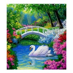 Swan Bird Spring Flowers Trees Lake Pond Landscape Original Aceo Painting Art Shower Curtain 66  X 72  (large)