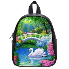 Swan Bird Spring Flowers Trees Lake Pond Landscape Original Aceo Painting Art School Bags (small)