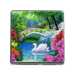 Swan Bird Spring Flowers Trees Lake Pond Landscape Original Aceo Painting Art Memory Card Reader (square)