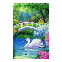 Swan Bird Spring Flowers Trees Lake Pond Landscape Original Aceo Painting Art Shower Curtain 48  X 72  (small)