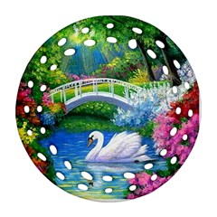 Swan Bird Spring Flowers Trees Lake Pond Landscape Original Aceo Painting Art Ornament (round Filigree)