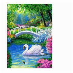 Swan Bird Spring Flowers Trees Lake Pond Landscape Original Aceo Painting Art Large Garden Flag (two Sides)