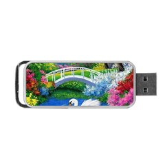Swan Bird Spring Flowers Trees Lake Pond Landscape Original Aceo Painting Art Portable Usb Flash (two Sides)