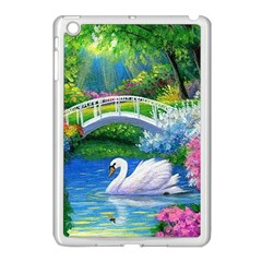 Swan Bird Spring Flowers Trees Lake Pond Landscape Original Aceo Painting Art Apple Ipad Mini Case (white)