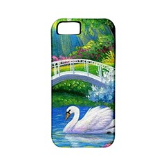 Swan Bird Spring Flowers Trees Lake Pond Landscape Original Aceo Painting Art Apple Iphone 5 Classic Hardshell Case (pc+silicone)