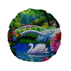 Swan Bird Spring Flowers Trees Lake Pond Landscape Original Aceo Painting Art Standard 15  Premium Round Cushions