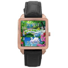 Swan Bird Spring Flowers Trees Lake Pond Landscape Original Aceo Painting Art Rose Gold Leather Watch