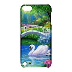 Swan Bird Spring Flowers Trees Lake Pond Landscape Original Aceo Painting Art Apple Ipod Touch 5 Hardshell Case With Stand