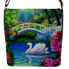 Swan Bird Spring Flowers Trees Lake Pond Landscape Original Aceo Painting Art Flap Messenger Bag (s)