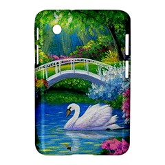 Swan Bird Spring Flowers Trees Lake Pond Landscape Original Aceo Painting Art Samsung Galaxy Tab 2 (7 ) P3100 Hardshell Case
