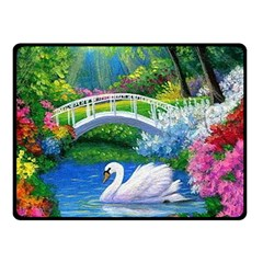 Swan Bird Spring Flowers Trees Lake Pond Landscape Original Aceo Painting Art Double Sided Fleece Blanket (small)
