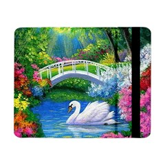 Swan Bird Spring Flowers Trees Lake Pond Landscape Original Aceo Painting Art Samsung Galaxy Tab Pro 8 4  Flip Case