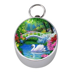 Swan Bird Spring Flowers Trees Lake Pond Landscape Original Aceo Painting Art Mini Silver Compasses
