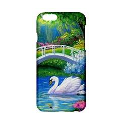 Swan Bird Spring Flowers Trees Lake Pond Landscape Original Aceo Painting Art Apple Iphone 6/6s Hardshell Case