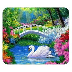 Swan Bird Spring Flowers Trees Lake Pond Landscape Original Aceo Painting Art Double Sided Flano Blanket (small)