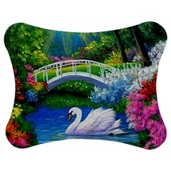 Swan Bird Spring Flowers Trees Lake Pond Landscape Original Aceo Painting Art Jigsaw Puzzle Photo Stand (bow)
