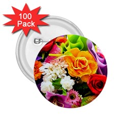 Colorful Flowers 2 25  Buttons (100 Pack)