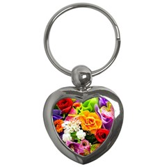 Colorful Flowers Key Chains (heart)