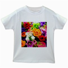 Colorful Flowers Kids White T Shirts