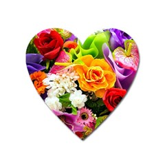 Colorful Flowers Heart Magnet