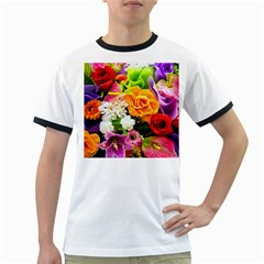 Colorful Flowers Ringer T Shirts