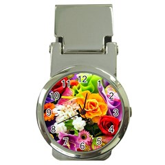 Colorful Flowers Money Clip Watches